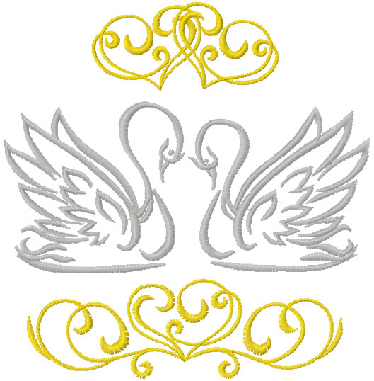 Swans free embroidery design
