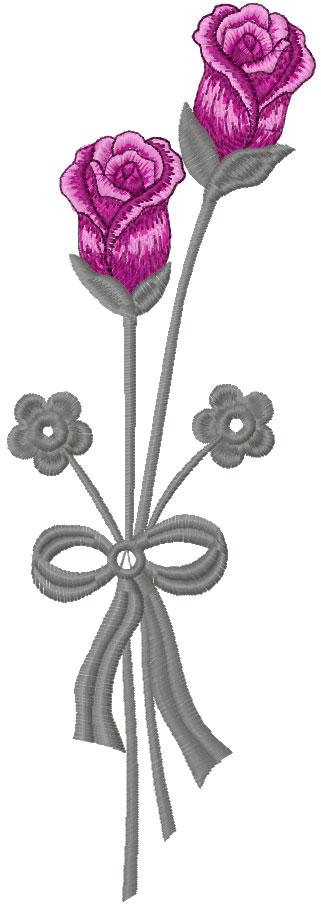 Long stem rose free embroidery design