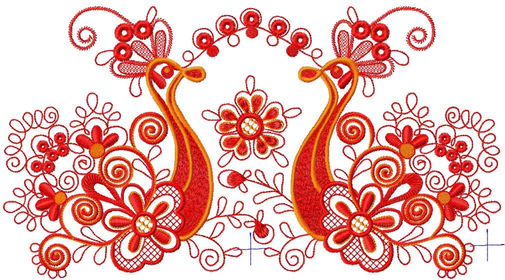 Firebird decoration free embroidery design