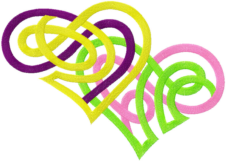 Two hearts free embroidery design