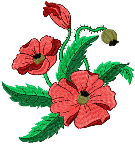 Poppies free embroidery design 15