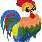 Rooster free embroidery design 2