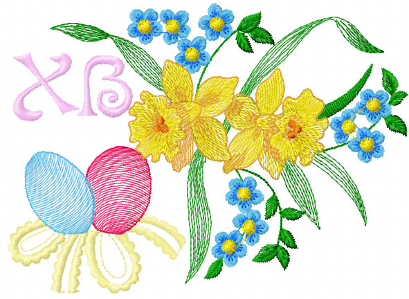 Easter flower free embroidery