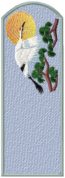 Bookmark with bird free embroidery