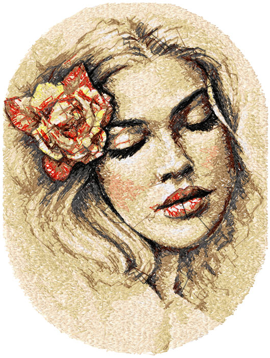 Young woman photo stitch free embroidery design