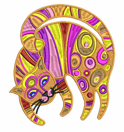 Modern cat free embroidery design 5