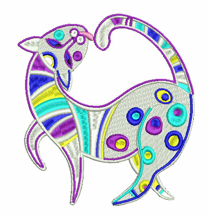 Modern cat free embroidery design 2