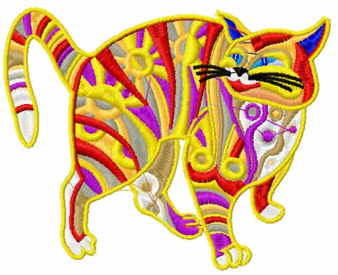 Modern cat free embroidery design