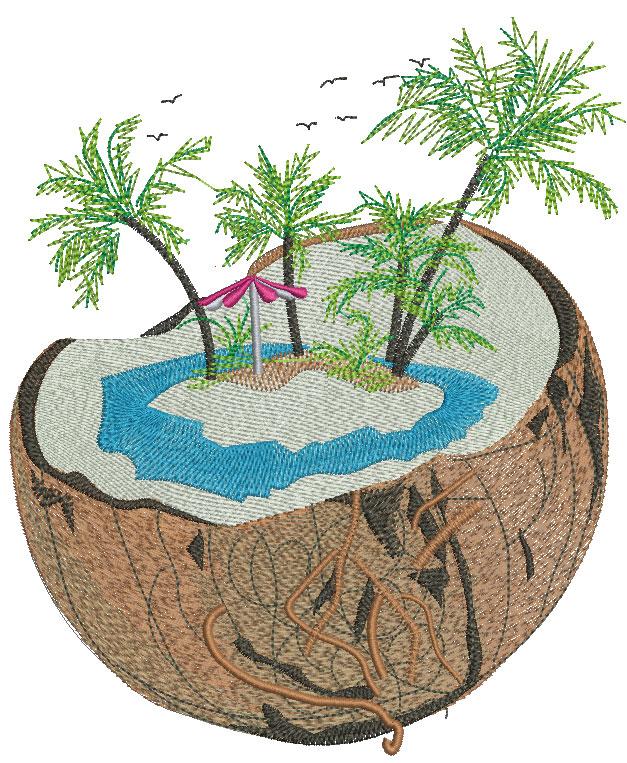 Cocoanut free embroidery design