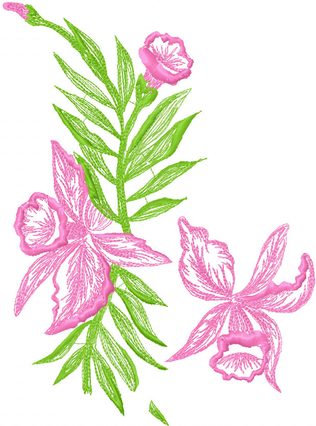Orchids Free Embroidery Design 2 Flowers Machine Embroidery