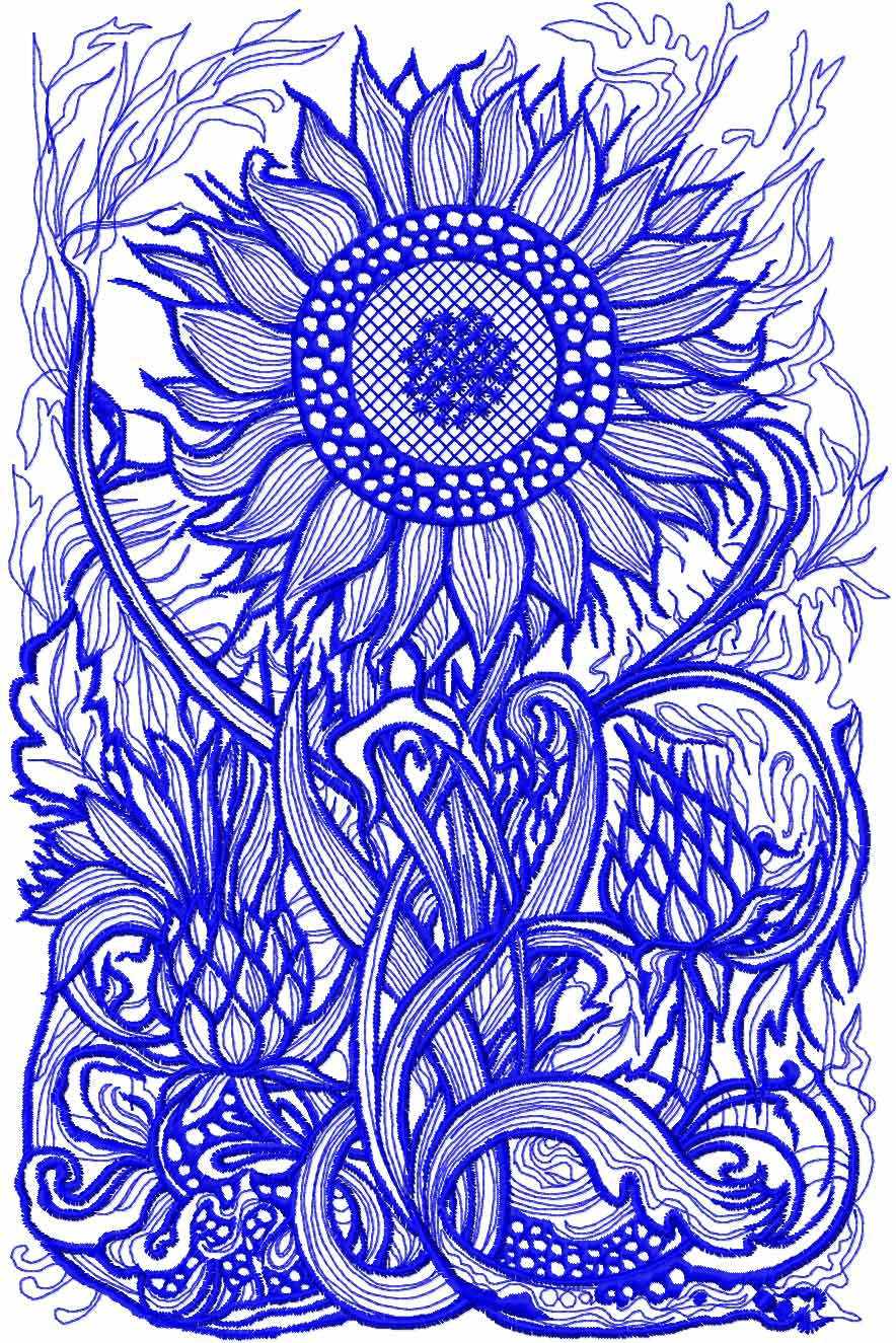 Sunflower free embroidery design