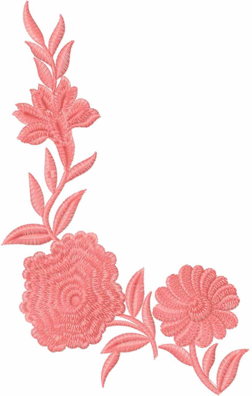 Big roses decoration element free embroidery design 5