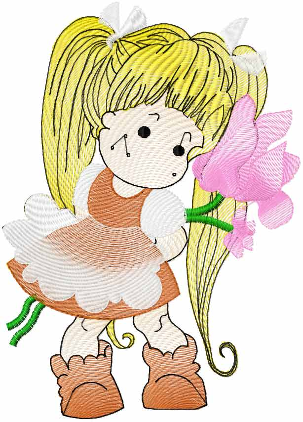 Little cute girl free embroidery design