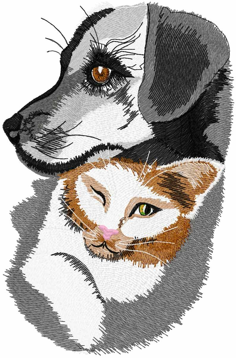 Cat and dog free embroidery design