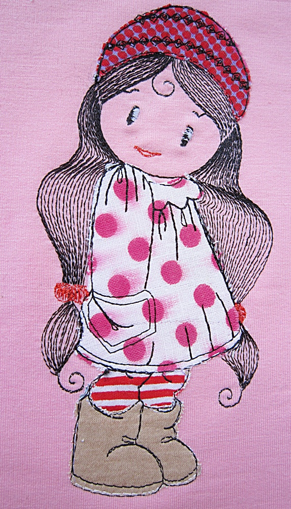 Cute girl applique free embroidery design