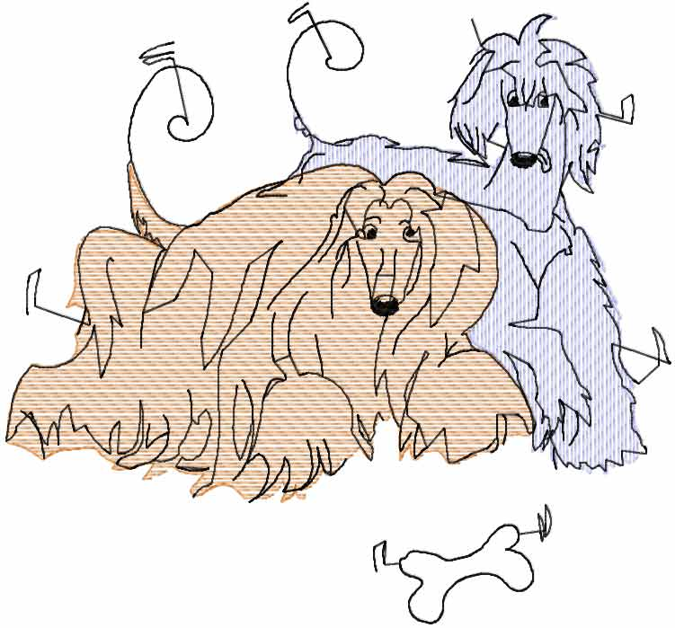 Afghan Hound free embroidery design