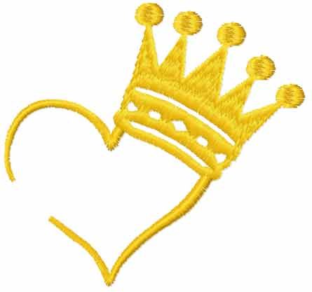 Heart with crown free embroidery design