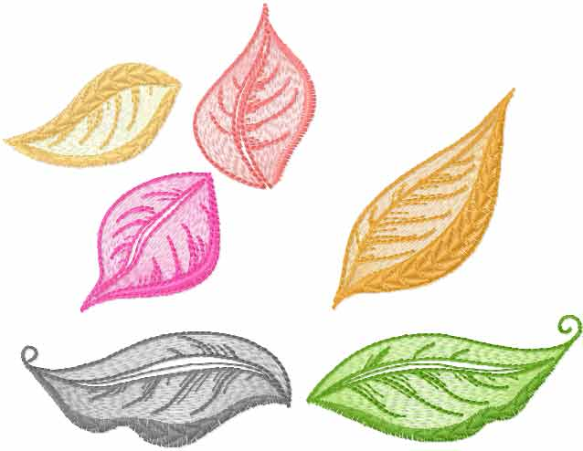 Colored leaves free embroidery design