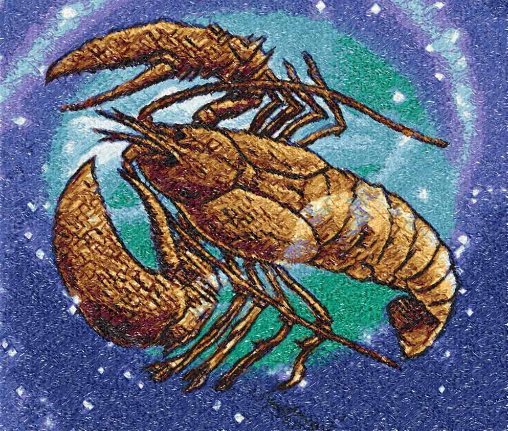 Lobster photo stitch free embroidery design