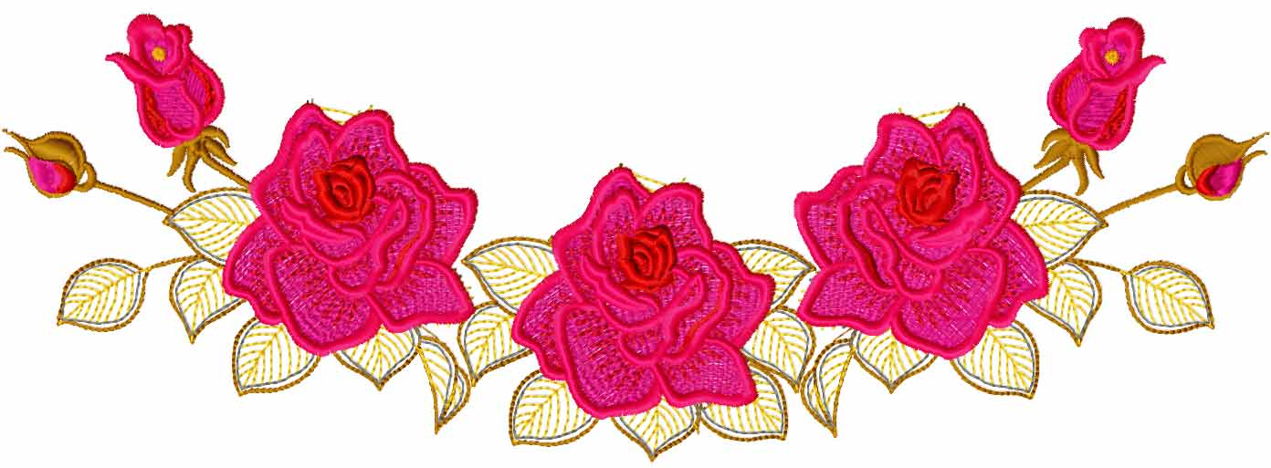 Rose blouse decoration free embroidery design