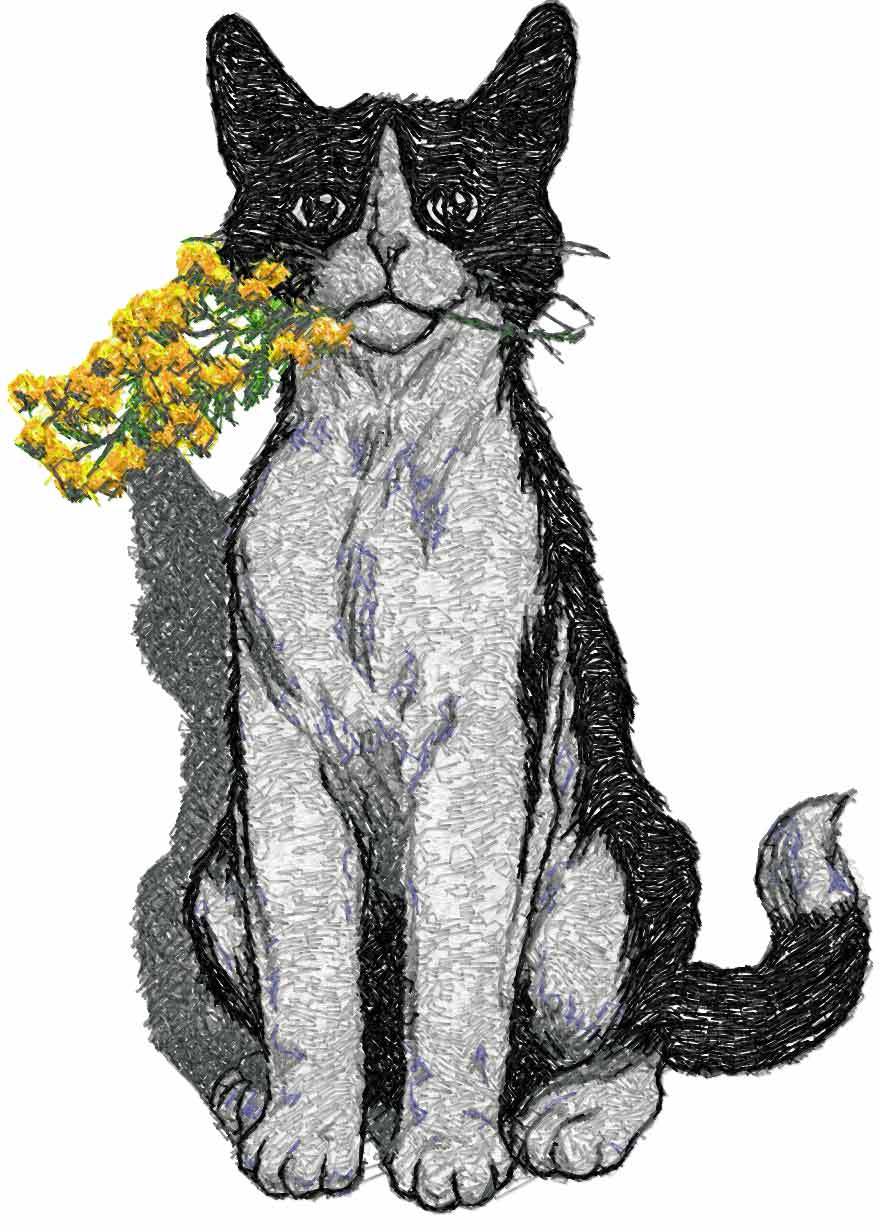 Cat and mimosa free embroidery design