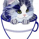 Kitten in a mug applique free embroidery