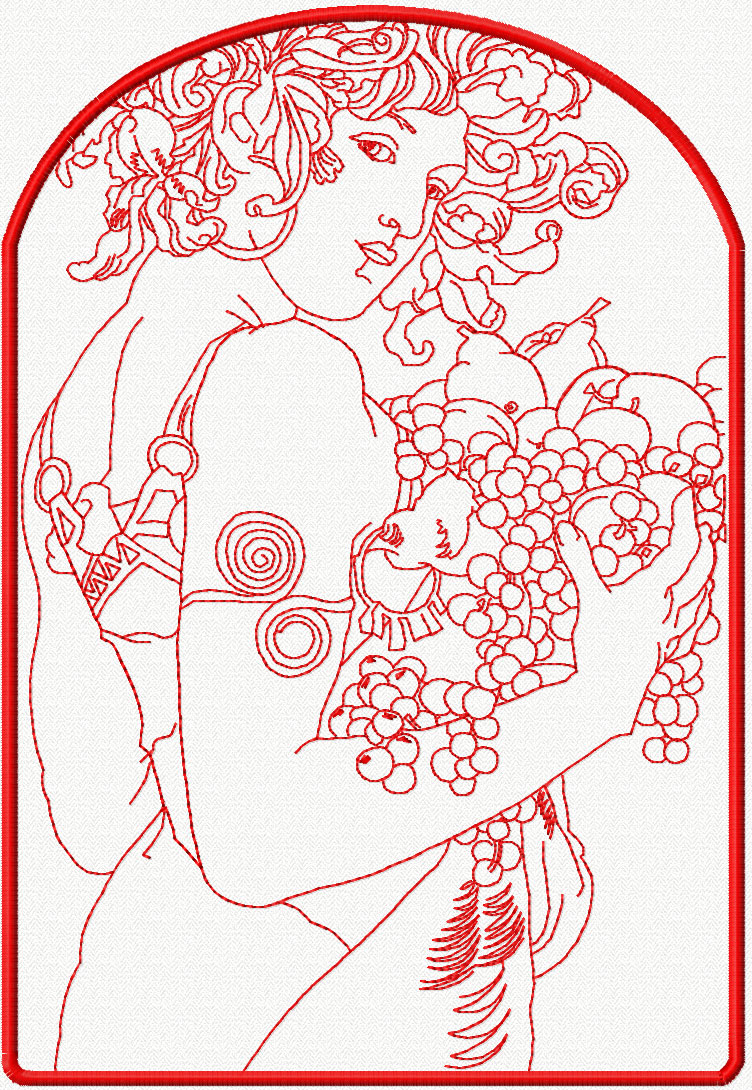Woman with grape redwork free embroidery design