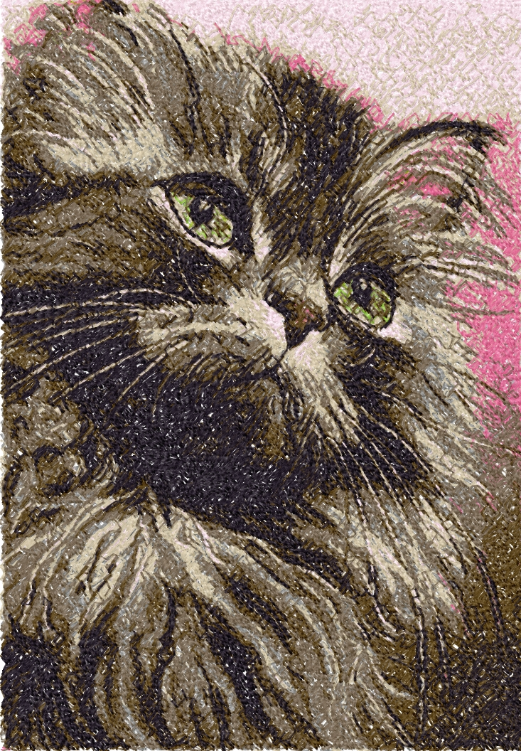 Cute kitty photo stitch free embroidery design 7