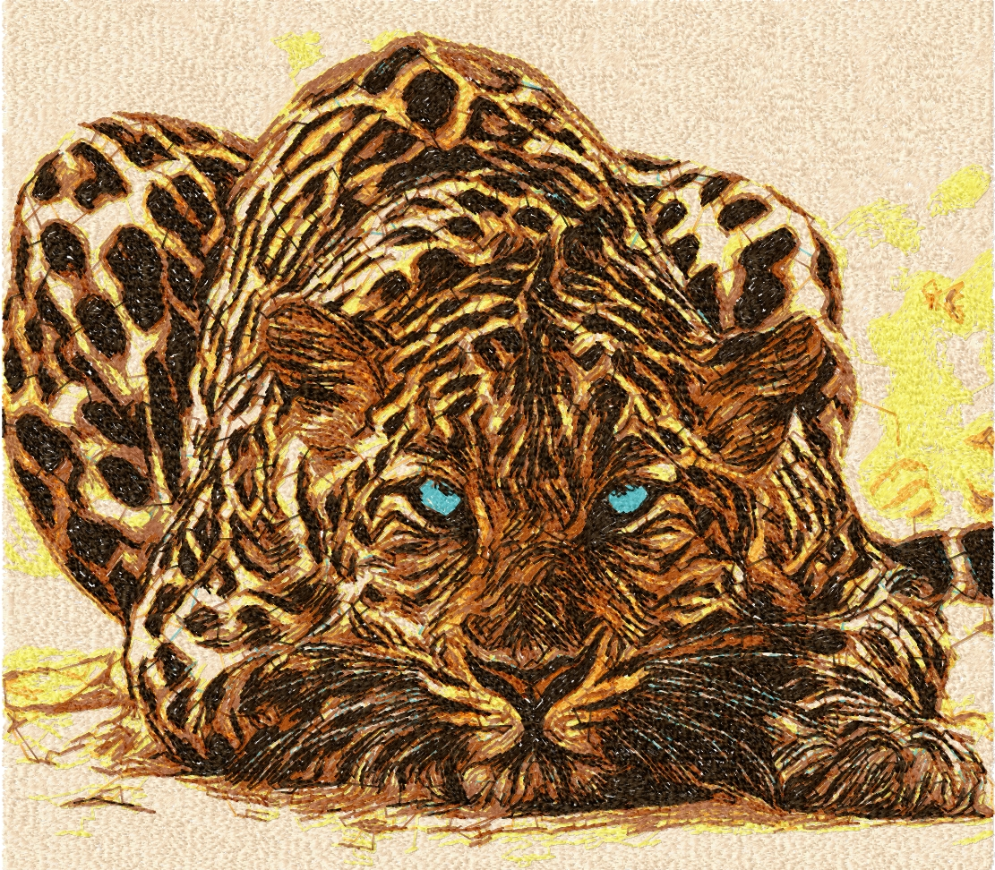 Leo big cat photo stitch free embroidery design