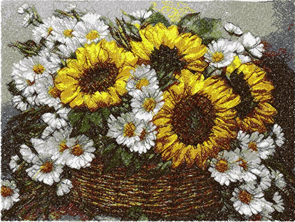 Sunflowers photo stitch free embroidery design 4