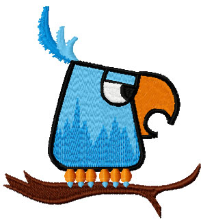 Brave parrot free embroidery design