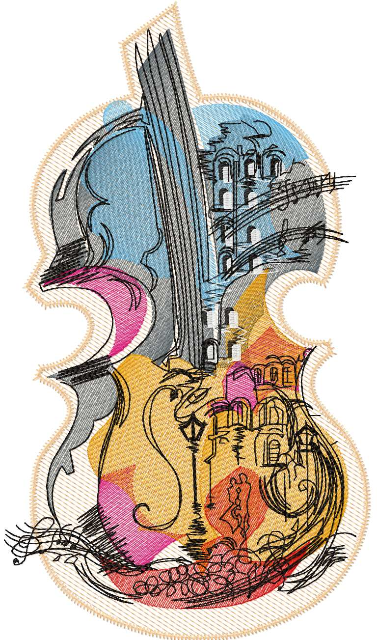 Violin free embroidery design