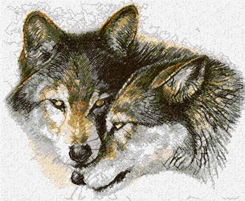 Wolves photo stitch free embroidery design 6
