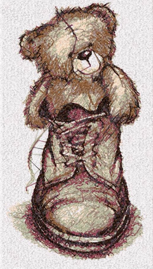 Teddy Bear in boot photo stitch free embroidery design
