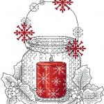 Christmas candle cross stitch free embroidery design
