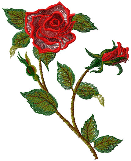 Rose free embroidery design 22