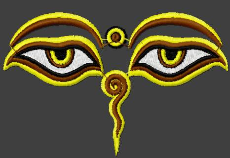 Buddha's eyes embroidery design