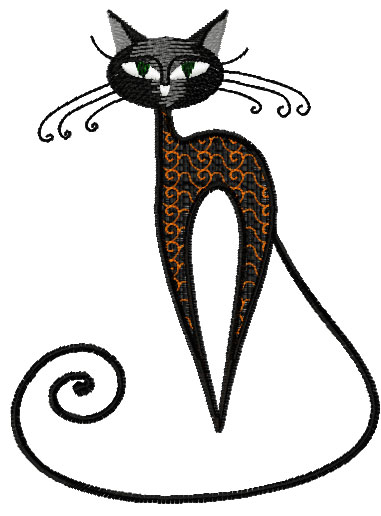 Very Strange Black Cat Free Embroidery Design Free Embroidery