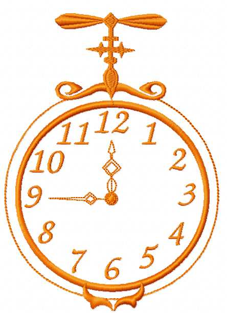 Christmas clock free embroidery design 5