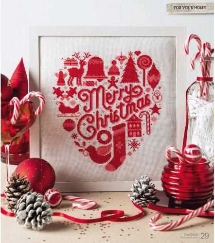 Merry Christmas Red Heart Cross Stitch Design Pattern