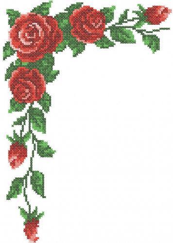 Rose corner cross stitch free embroidery design