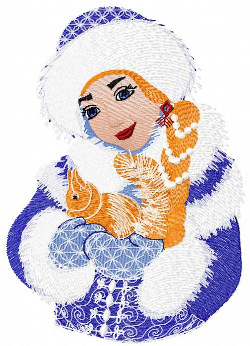 Snow maiden with squirrel free embroidery design