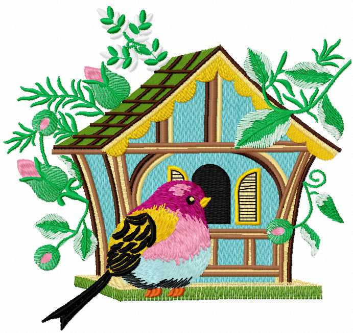 Bird in the birdhouse free embroidery design