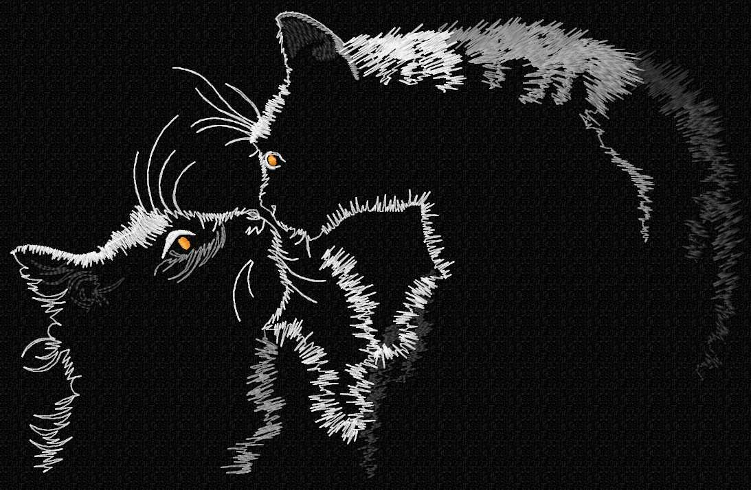Cats meet free embroidery design