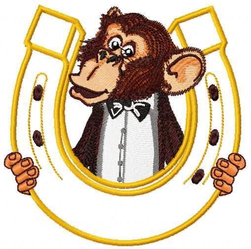 Monkey and horseshoe free embroidery design