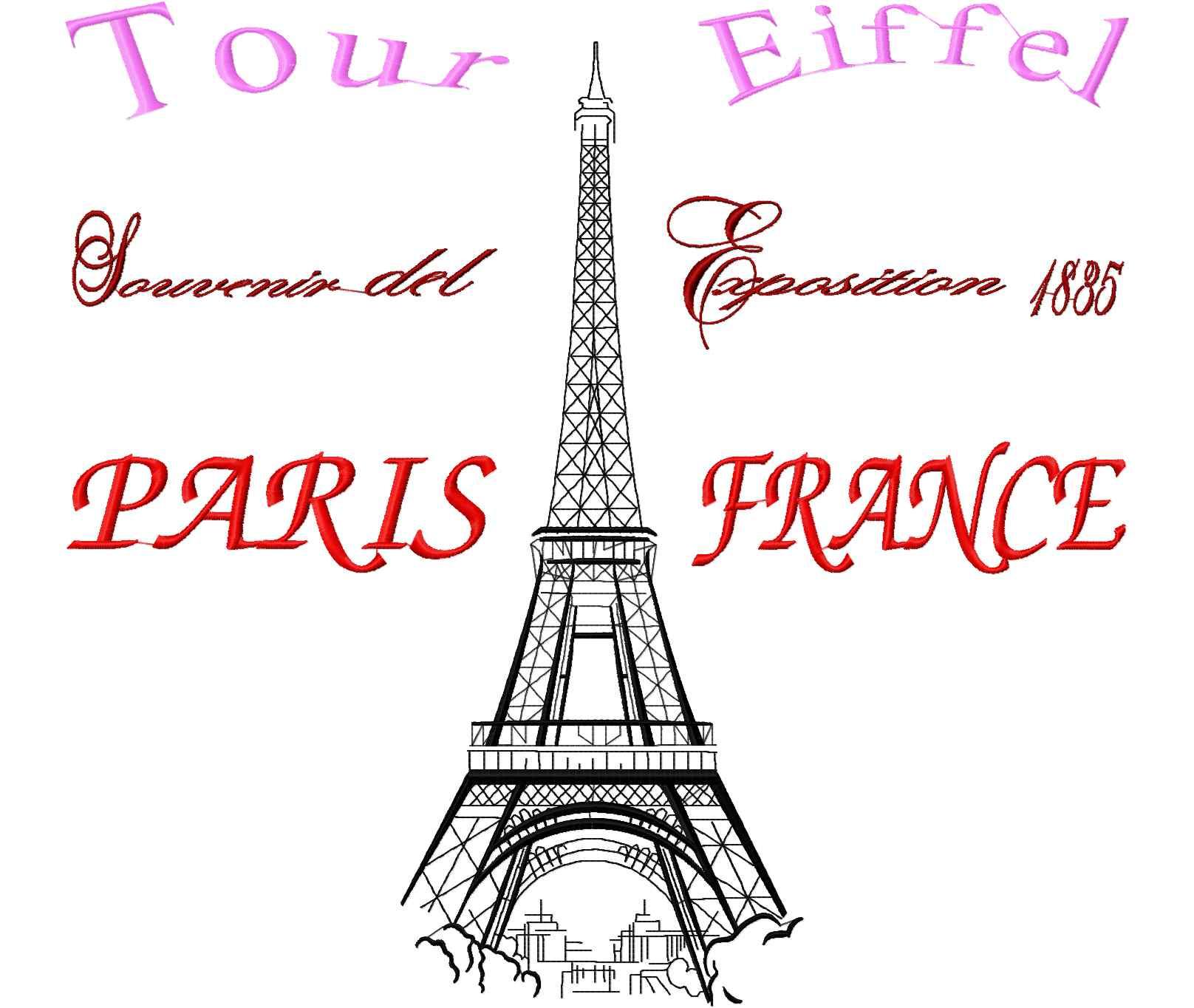 Paris France Eiffel tour free embroidery design