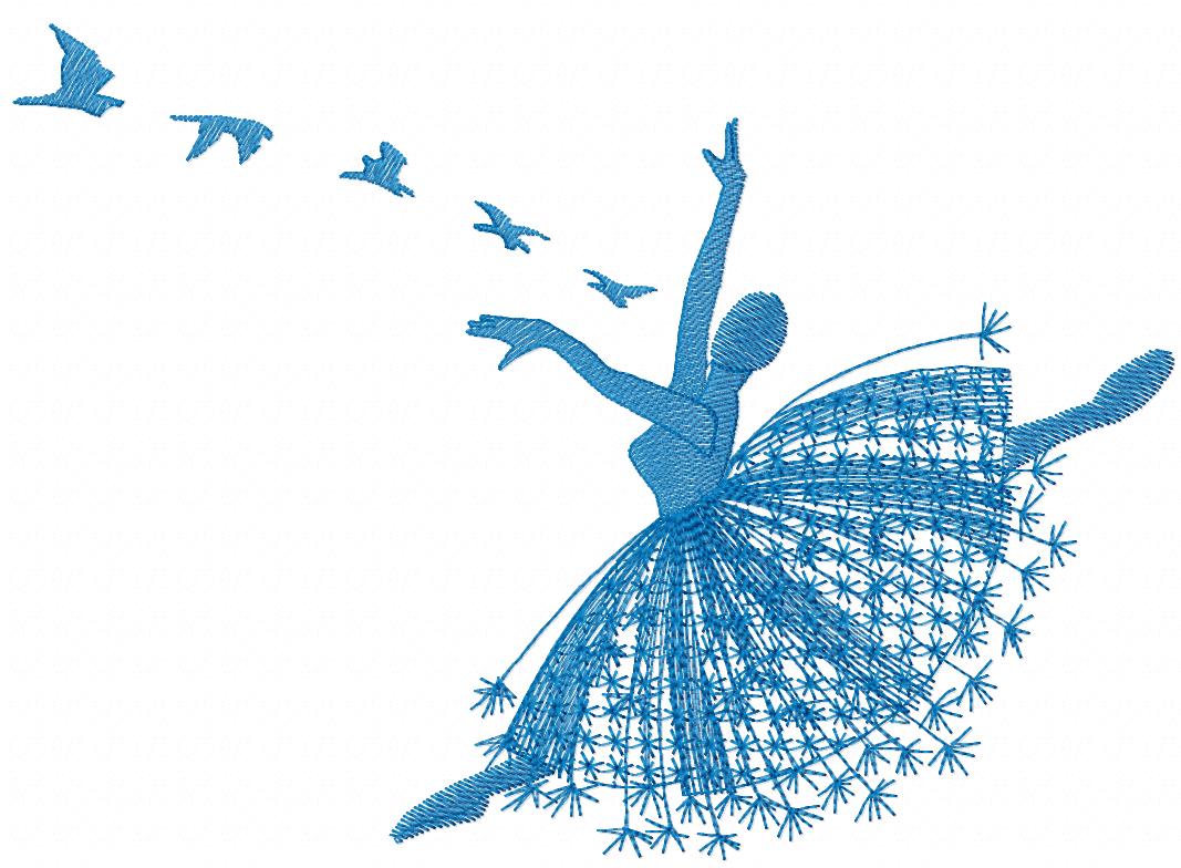 Ballet dancer free embroidery design