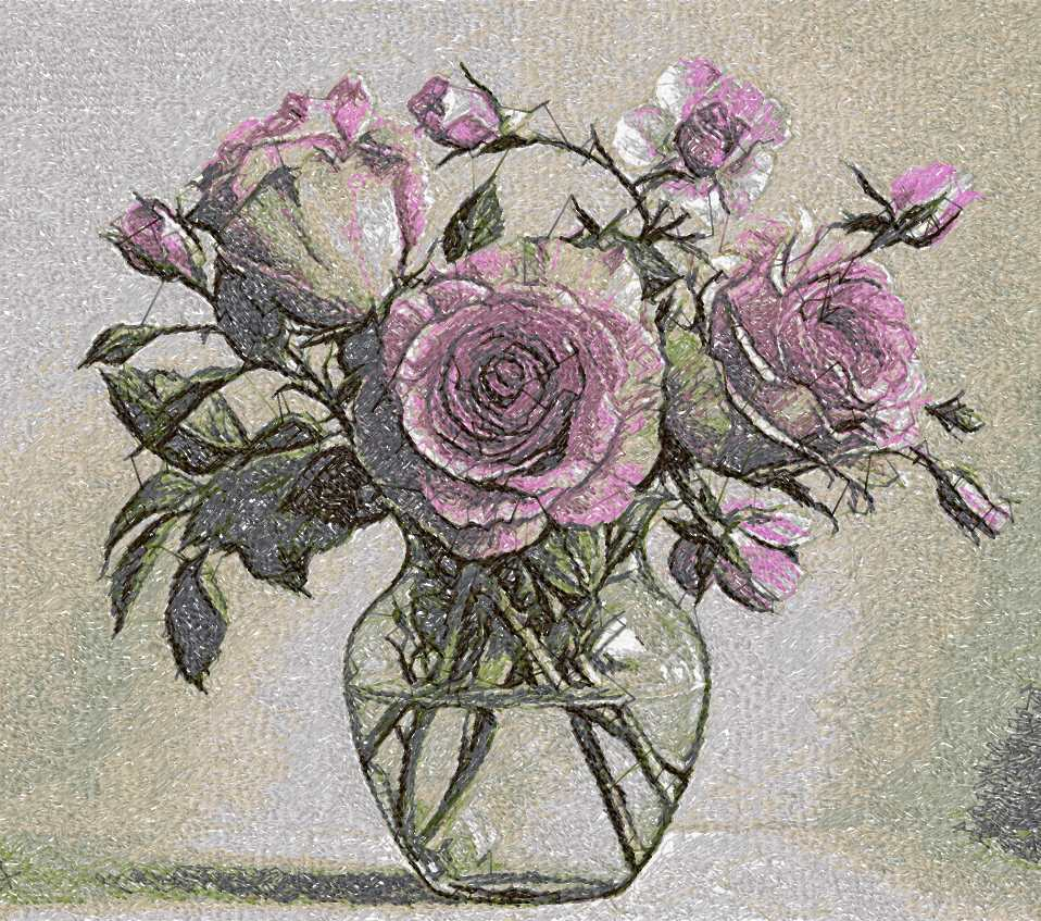 Bouquet roses in vase photo stitch free embroidery design