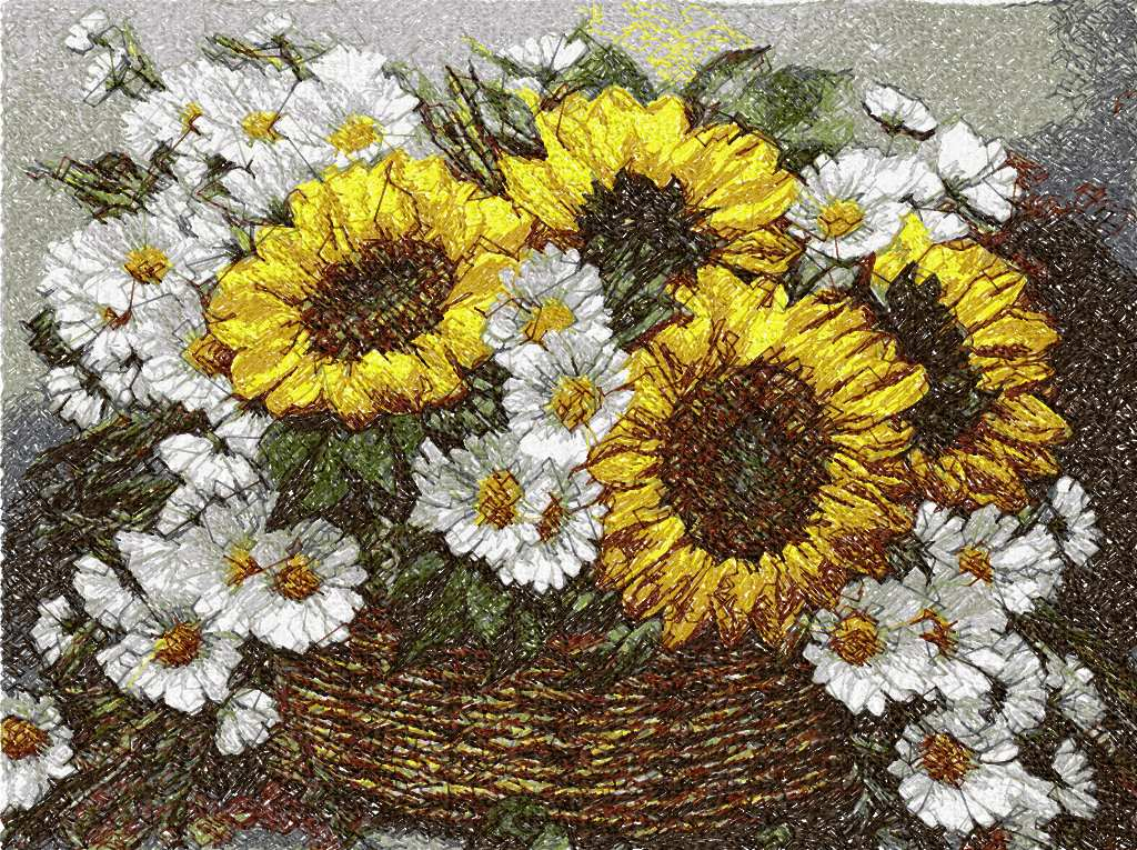 Bouquet of sunflowers and chamomiles photo stitch free embroidery design