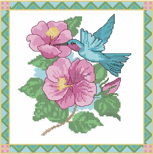 Humming-bird Cross Stitch Free Embroidery Design - Cross Stitch Machine Embroidery - Machine ...